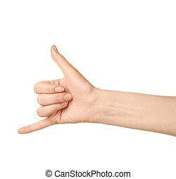 main femelle, isolé, geste, caucasien