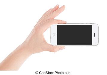 main femelle, téléphone, intelligent, tenue, blanc, paysage, orientation
