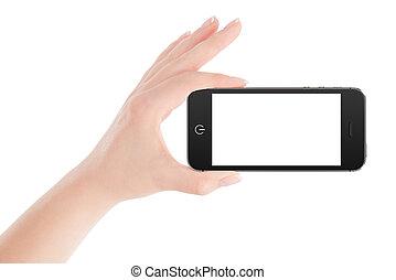 main femelle, téléphone, noir, intelligent, tenue, paysage, orientation