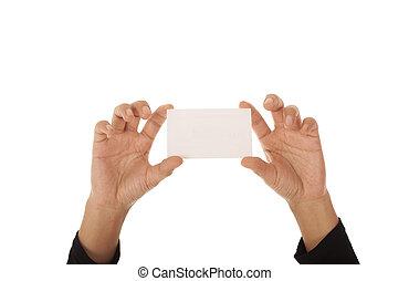 main femelle, tenue, a, carte affaires, isolé, blanc, fond