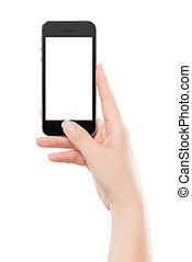main femelle, tenue, noir, moderne, intelligent, téléphone, à, écran blanc, et, appuyer bouton, par, les, thumb., isolé, blanc, arrière-plan.