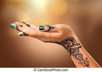 Tatouages Henne Femme Mariee Indien Noir Mehndi Mains Girl