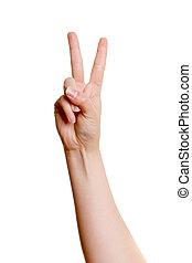 main, femme, haut, deux doigts