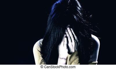 main, femme pleure, figure