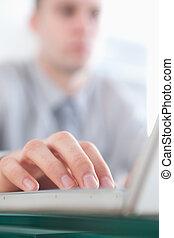 main, fin, ordinateur portable, utilisation, haut