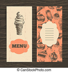 main, fond, menu, coffeehouse., dessiné, café, restaurant, ...