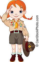 main, garçon, girl, signe, scout