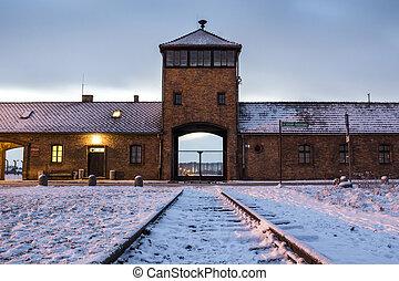Main gate to concentration camp of Auschwitz Birkenau, ...