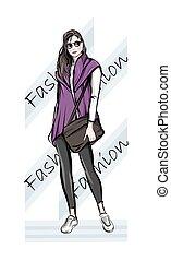 main, girl, mignon, sunglasses., mode, beau, jeune, handbag., dessiné, woman., femme, élégant, sketch., illustration.