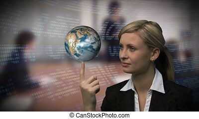 main, globe, femme affaires