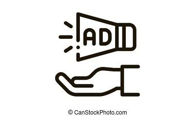 main, haut-parleur, icône, animation