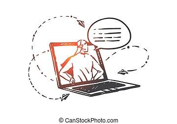 main, helpline, hotline, vecteur, concept, opérateur, dessiné, sketch., isolé