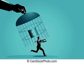 main, homme affaires, cage d'oiseaux, capturer, géant, courant