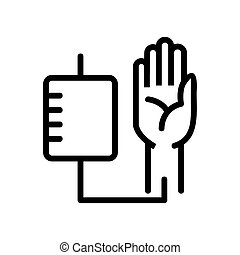 main, humain, contour, icône, vecteur, sanguine, illustration, échantillonnage