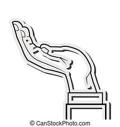 main, humain, icône