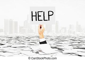 main humaine, demande, pour, aide, bâtons, de, tas, de, papier, bureaucratie, concept