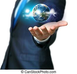 main humaine, planète, tenue, notre, la terre