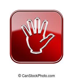 main, icône, lustré, rouges, isolé, blanc, fond