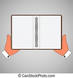 main., illustration, vecteur, cahier, vide, agenda