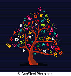 main imprime, multi-ethnique, arbre, coloré