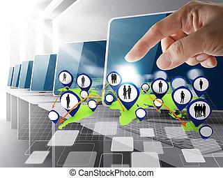 main, indiquer, social, réseau, icône, salle ordinateurs