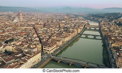 Main landmarks of Florence, Ponte Vecchio bridge and...