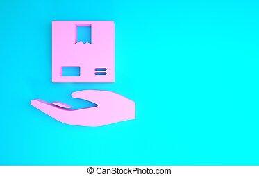 main, livraison, concept., rose, arrière-plan., illustration...