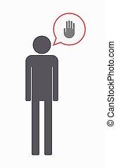 main, mâle, isolé, pictogramme