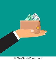 main, mâle, portefeuille, tient, argent