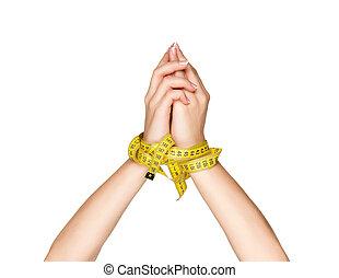 main, mètre à ruban
