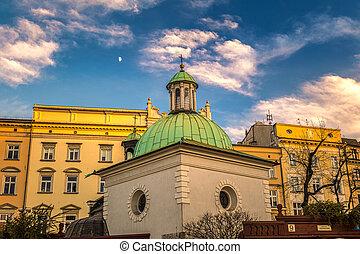 Main Market Square in Krakow town, Poland.