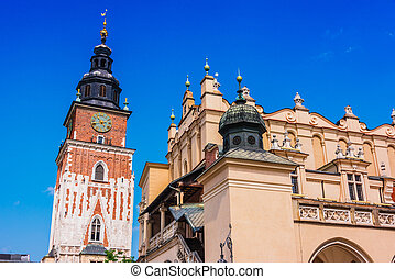 Main Market Square with Town Hall Tower in Krakow, Poland