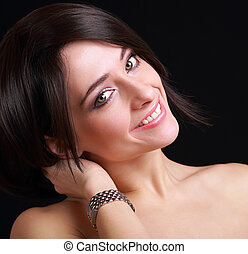 main., moderne, montre, closeup, femme, portrait, modèle, heureux