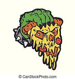 main, monstre, pizza avoirs