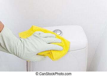 main, nettoyage, wc.