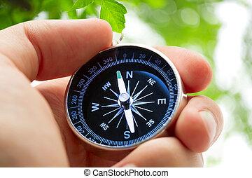 main, noir, argent, tenue, compas
