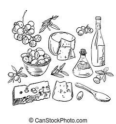main, nourriture, ensemble, dessiné