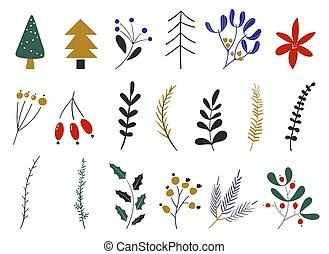 main, nouveau, plants., icons., année, vecteur, elements., noël, hiver, ensemble, fleurs, dessiné, conception, collection., feuilles