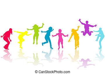 main, noyer, enfants, coloré, silhouettes