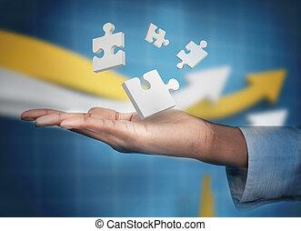 main, numérique, puzzles, blanc, levitating