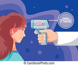 main, numérique, tenue, thermomètre, prévention, docteur, coronavirus