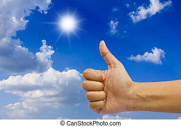 main, ok, faire gestes, sky.