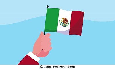 main, onduler, mexique, célébration, animation, drapeau ...
