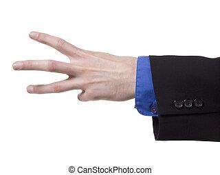 main ouverte, trois, doigts
