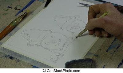 main, papier, crayon, artistes, peinture, dessine