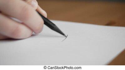 main, papier, vide, petit, pencil., dessin