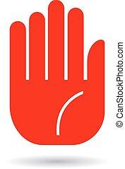 main, paume, icône