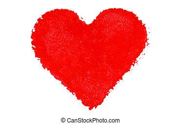 main, peint, coeur rouge, forme.