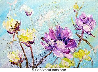 main, peint, pourpre, et, fleurs jaunes