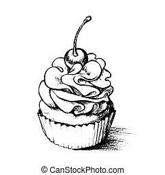 main, petit gâteau, livre, dessiné, coloration
